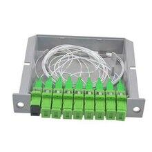 SC APC PLC splitter 1X8 Волоконно-Оптические Коробки FTTH PLC Splitter box with 1X8 планарного типа Оптический сплиттер Бесплатная доставка