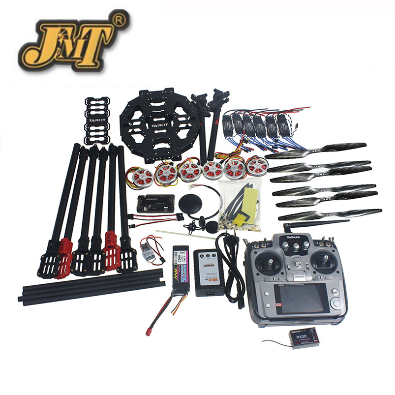 JMT Full Set Hexacopter Drone 6-axle Aircraft Kit Tarot FY690S Frame 750KV Motor GPS APM 2.8 Flight Control AT10Transmitter f07803 b quadcopter drone 6 axis aircraft kit tarot fy690s frame 750kv motor gps apm 2 8 flight control no battery transmitter