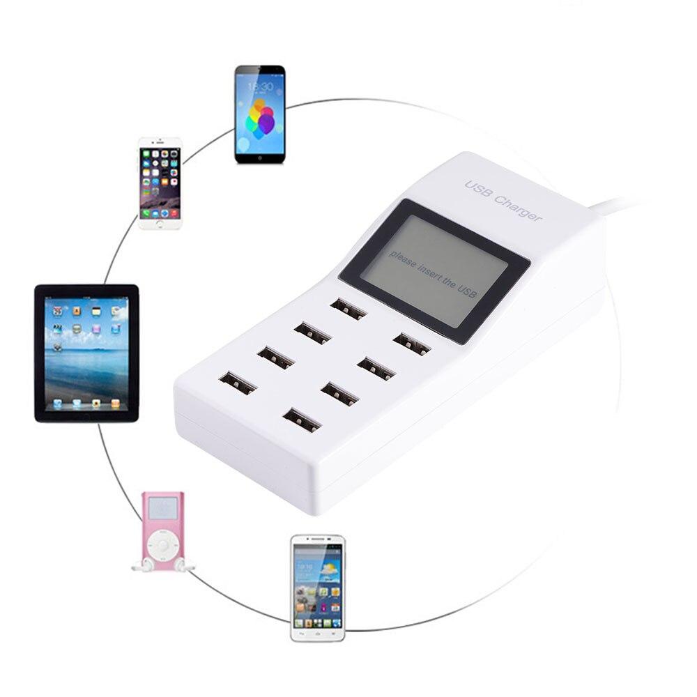 imágenes para 8 Salidas USB Cargador Adaptador de Corriente con Enchufe Adaptador de Pantalla LCD