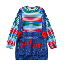 Women/Men Cute Kawaii Stripe T Shirts Harajuku Halloween Chucky Good Guys Bib 3D T Shirt Fake Two Pieces Tshirts Funny Tees Tops