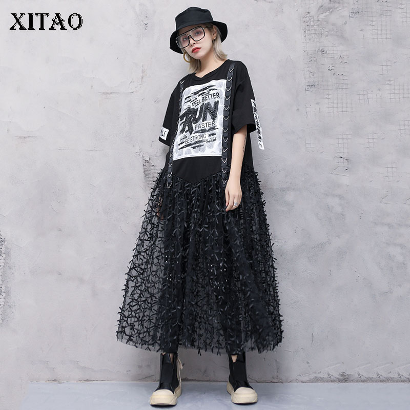 [XITAO] New Women 2019 Summer Korea Fashion O-neck Short Sleeve Loose Dress Female Lace Mid-calf Hollow Out Dress DLL3534