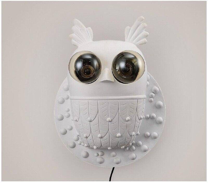coruja branca criativo lâmpada parede para hotel