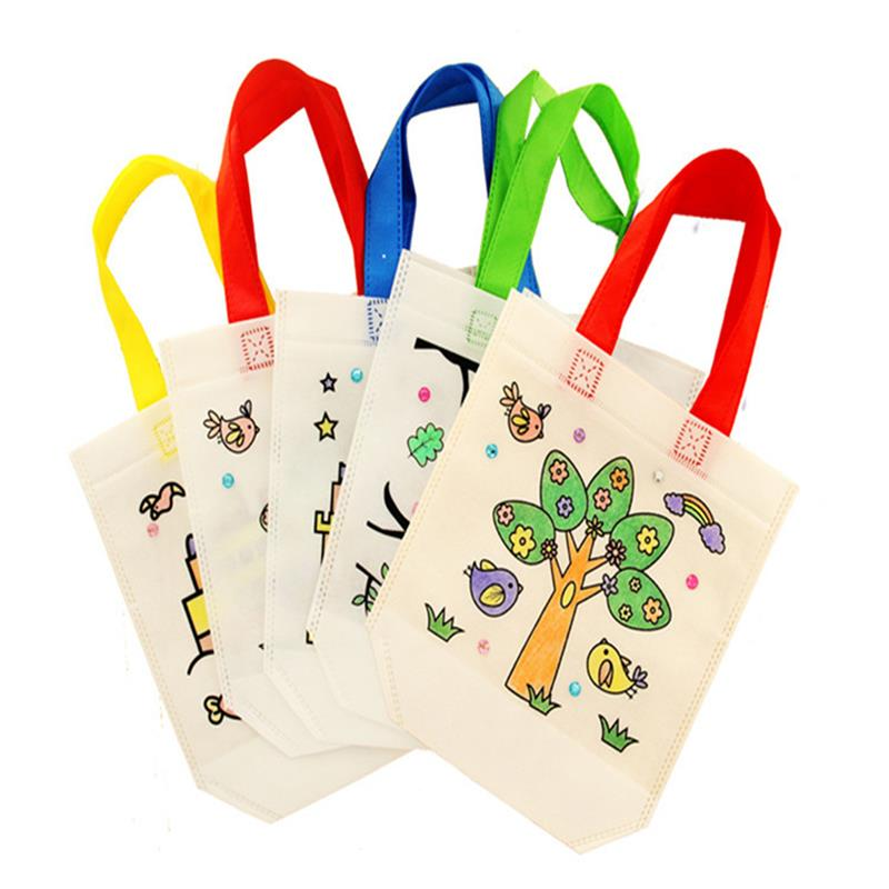 Diy Graffiti Handbag Drawing No-woven Packing Bag Educational Toys For Children Rinquedos Educativos Kids Gift handbag