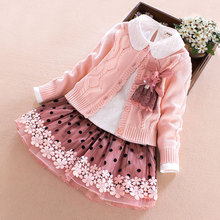 Children's Sweater Winter Clothes Set Girls Sweater Coat+cotton Blouses+lace Skirt 3pcs Suit Girls Princess Clothing