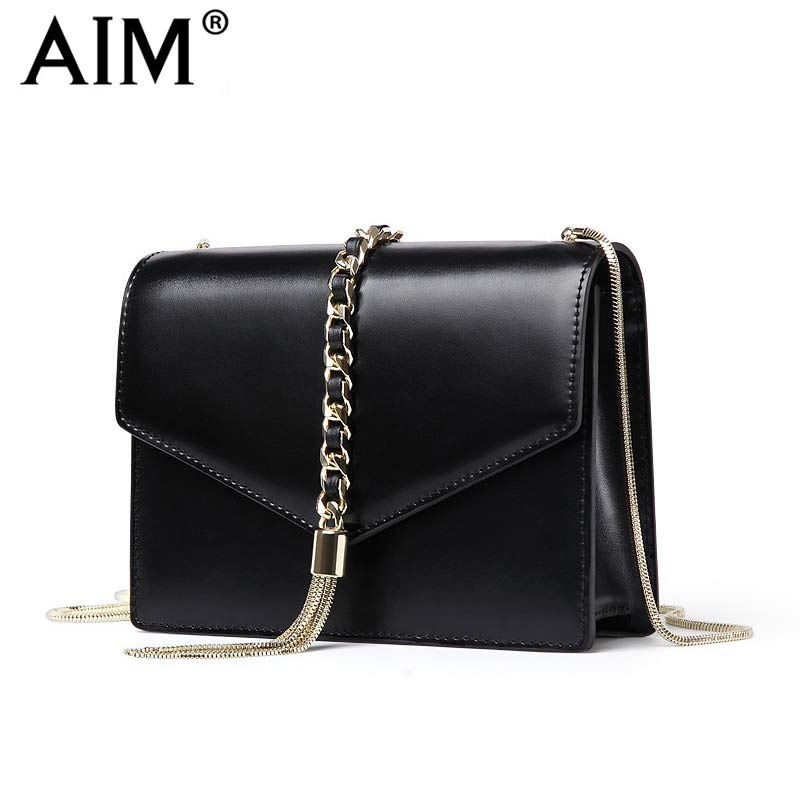 AIM Brand Small Shoulder Bags for Women Luxury Crossbody bags Female Solid Flap Bag Girl Mini Black Messenger Bag Tassel W022 2017 summer metal ring women s messenger bags solid scrub leather women shoulder bag small flap bag casual girl crossbody bags