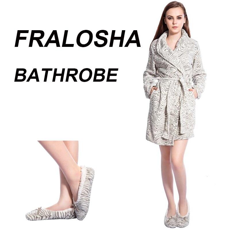 FRALOSHA Women White stripes Warm Flannel Bridal Bathrobe Nightwear Dressing Gown Sleepwear Bath Robe For Ladies robe sets