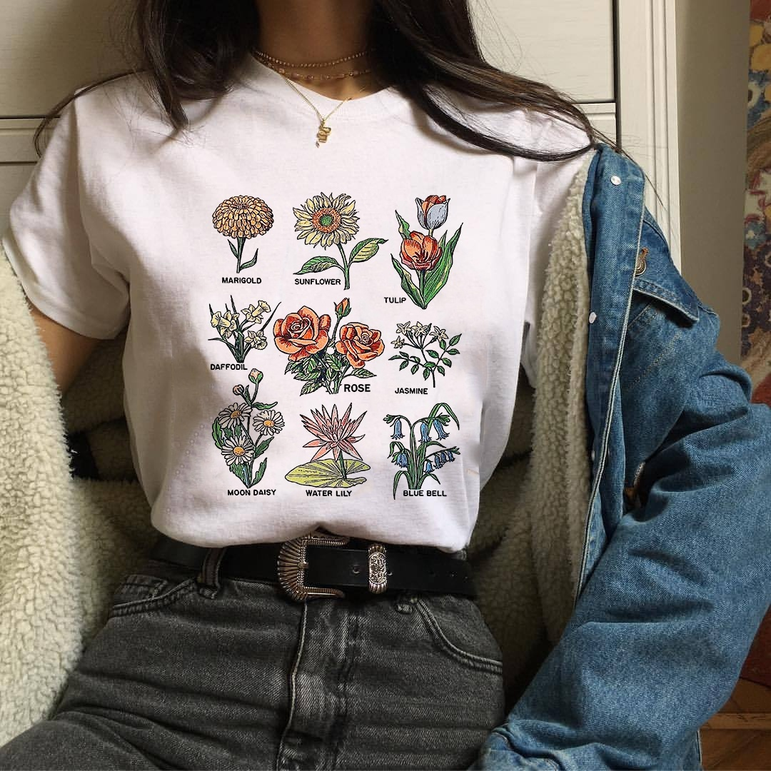 Kuakuayu Hjn Women Tumblr Vintage Fashion Floral Blooms T Shirt