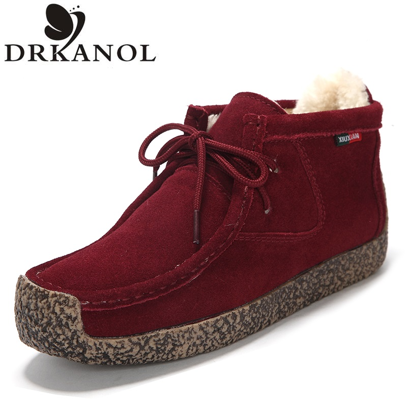 Women Shoes Autumn Winter Comfortable Warm Ankle Boots Genuine Leather Lace Up Women Snow Boots Sewing Flat Cotton Shoes XX&8626 ms autumn and winter snow boots warm comfortable wholesale women ladies casual shoes lace up martin boots popular dt548