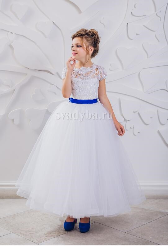 New ankle length royal blue ribbon sheer lace illusion back ball gown flower girl dress first communion gown with cap sleeves guess new white illusion panel halter dress msrp $129 dbfl
