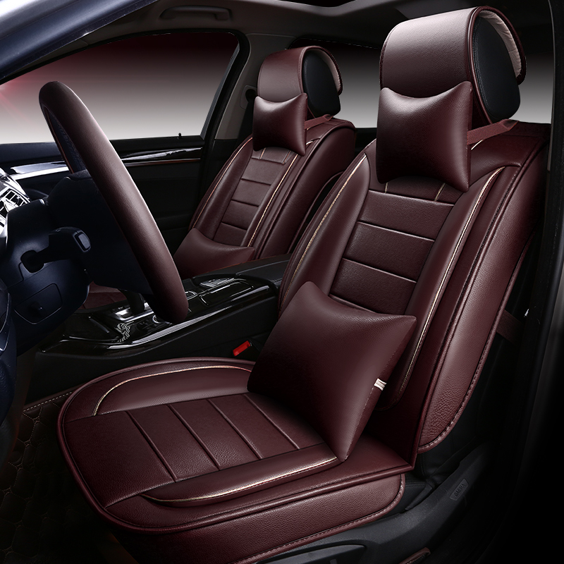 auto seat cushion cover set universal fit front and rear seat protector PU leather lumbar support car styling automotive cover