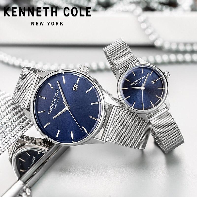 Kenneth Cole пара влюбленных часы Простой кварцевые Водонепроницаемый Дата Нержавеющаясталь браслет Для мужчин женщи часы KC10030837