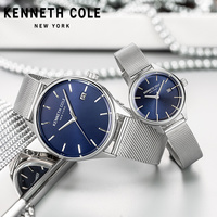 Kenneth Cole Couple Lovers Watches Simple Quartz Waterproof Date Stainless Steel Bracelet Men Wome Watches KC10030837