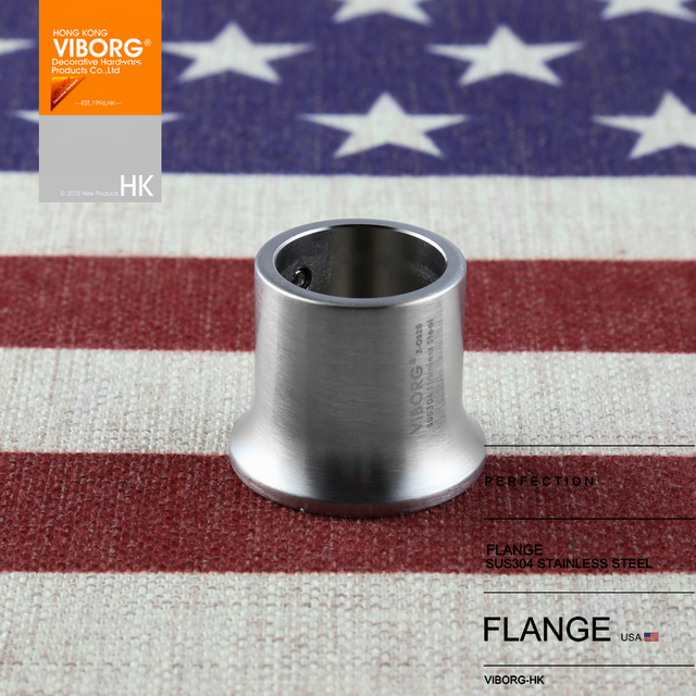 1 Pair VIBORG 25mm Solid 304 Stainless Steel Extra Thick Flanges Shower Curtain Rod Closet Flange Bracket Holder