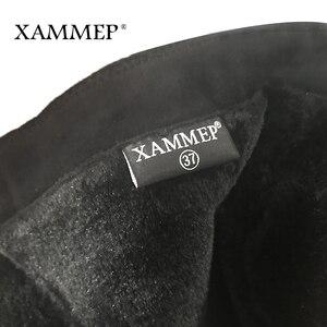 Image 5 - Женские зимние сапоги до колена, кожаные брендовые сапоги больших размеров, женская зимняя обувь из шерсти и плюша