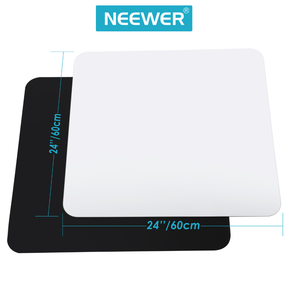 Neewer 24x24inch/60x60cm Acrylic White&Black Reflective Display Table Background Boards for Product Table Top Photography Studio