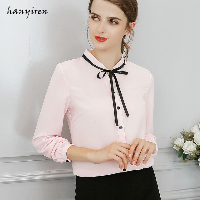 5089b315332f6 Hanyiren Elegant Long Sleeve Bow Tie Chiffon Blouse Pink And White 2018  Work Wear Office Blouse