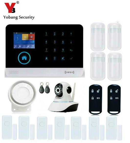 Yobang Security-Wireless Alarmsystem Remote APP Control WiFi Home Alarm System RFID Wireless GSM Home Security With IP Camera yobang security wireless zones app control security home kits wifi gsm alarm system with 2 ip camera for home protection