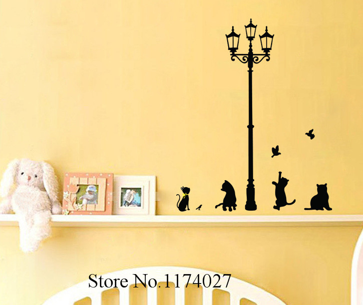 High Quality Cat Wall Stickers Home Decor Lamp and Butterflies ...