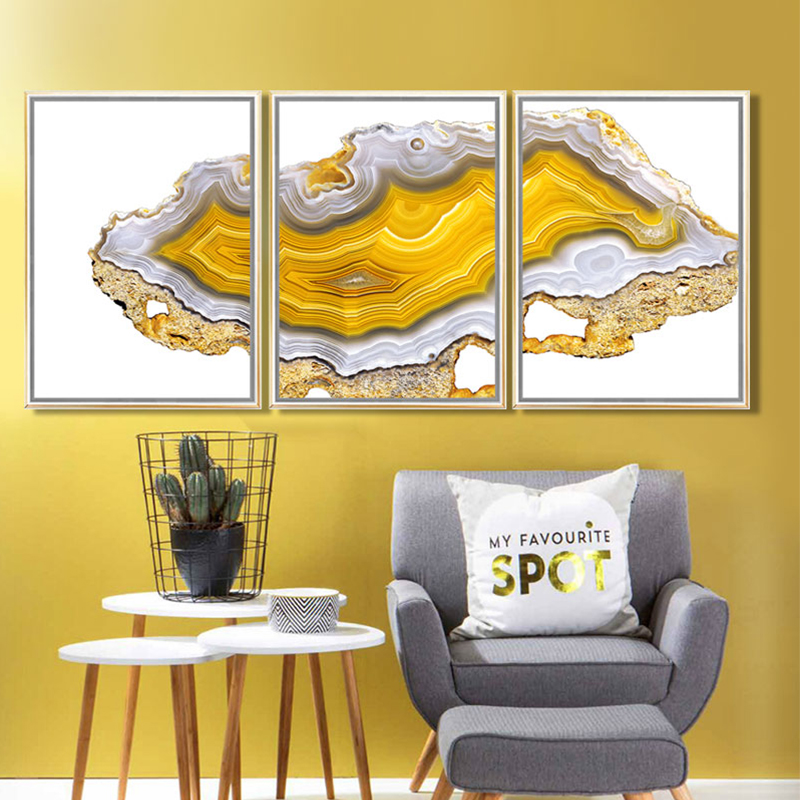 Yellow Modern Abstract Painting Onyx Gem Poster Photo Print Canvas ...