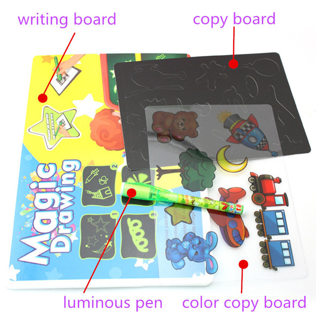 1PC A4 A5 LED Luminous Drawing Board Graffiti Doodle Drawing Tablet Magic Draw With Light-Fun Fluorescent Pen Educational Toy 4