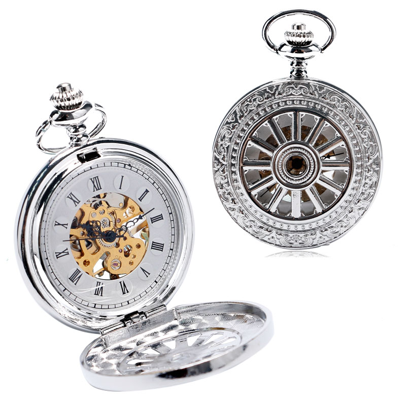 Fashion Wheel Hollow Design Roman Numbers Skeleton Mechanical Hand Wind Pocket Watch With Chain Vintage Fob Watches