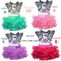 EMS/DHL Ücretsiz nakliye (4 colors) 2015NEW! SıCAK Çocuklar Kızlar Için Sevimli Pamuk Hello kitty Elbiseler yaz