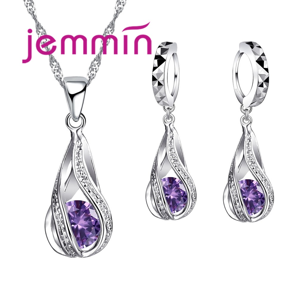Free Shipping Top Quality 925 Sterling Silver Wedding Party Jewelry Sets Multiple Color Crystals Pendant Necklace Earrings(China)