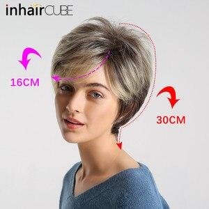 Image 3 - Inhaircube perruque naturelle avec frange synthétique, cheveux courts et lisses, cheveux courts et lisses, pour femmes, pour fête, sans colle