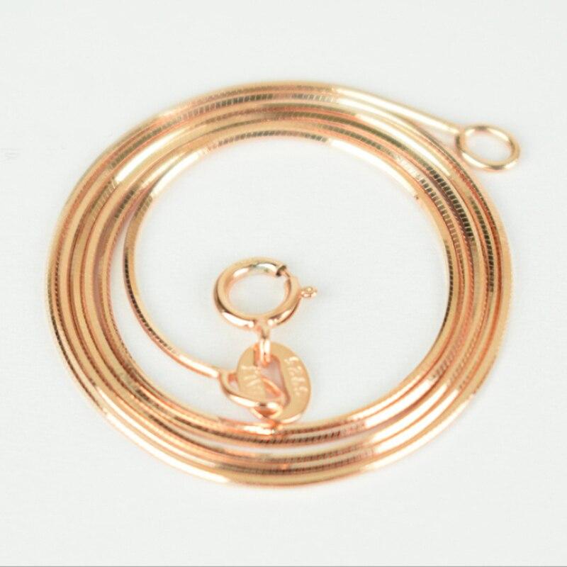 d31b78f038d1 925 plata esterlina pura y Color de rosa de oro de corte Slim delgada  collar de cadena de serpiente para colgante 40 45 cm para mujer niñas niños  joyería ...