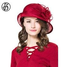FS Elegant Ladies Hat Wedding Linen Hats For Women Wide Brim Hat Summer Wine Red Flowers Asymmetr Luxury Sinamay Fedoras