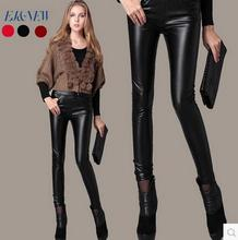 Black spring pencil pants leather-based girls 1 trousers slim for the ladies's pu leather-based pants excessive waist pants capris for ladies