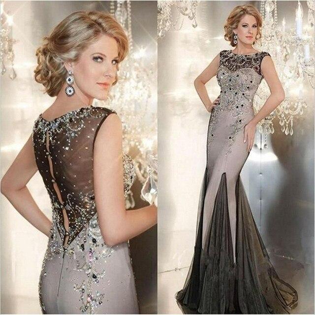 Designer Long Evening Gowns Crystals Tulle Sheer Back Evening ...