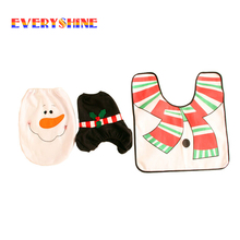 2017 New Year Cartoon Xmas Gifts Christmas Decorations Snow man Toilet Seat Cover Rug Bathroom Set for Home SD112