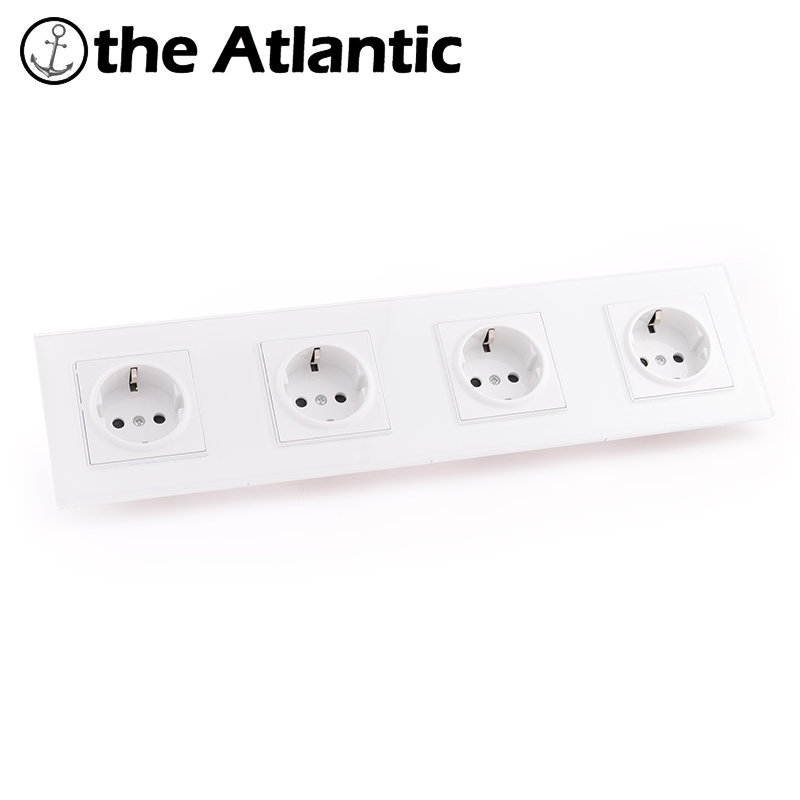 Atlantic EU/DE/RU Socket Crystal Glass Switch Wall Plug Socket Tempered Crystal Glass Panel 110-250V 50/60Hz Wall Power Socket atlantic switch tempered glass phone tv socket model luxury crystal glass panel weak current socket telephone television outlet