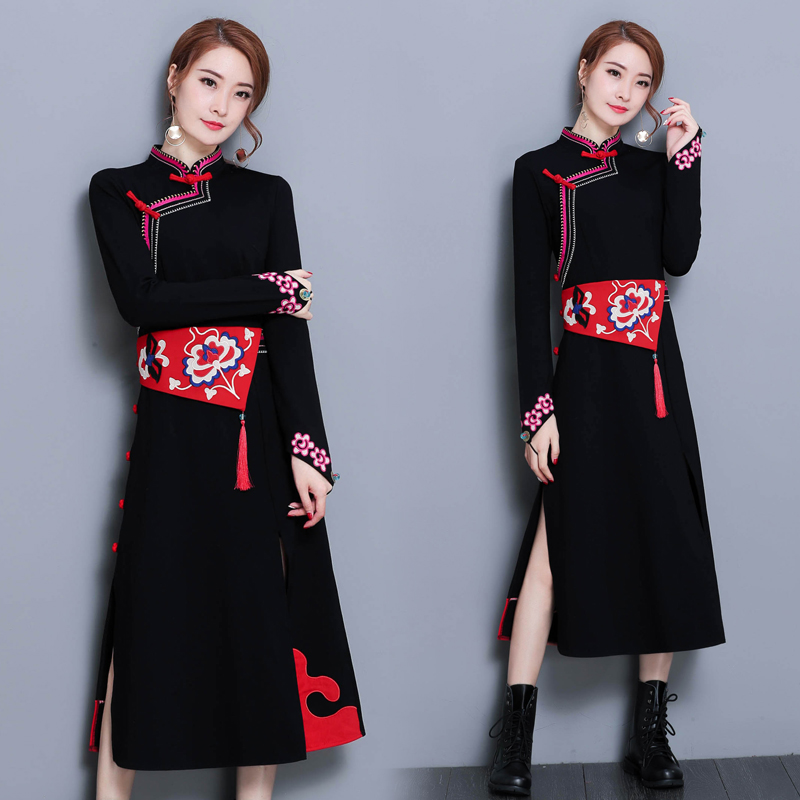2020 Full Sleeve Long Dress Qipao Vintage Elegant Chinese Dress Chinese Folk Style Oriental Elegant Cheongsam Qi Pao Dress