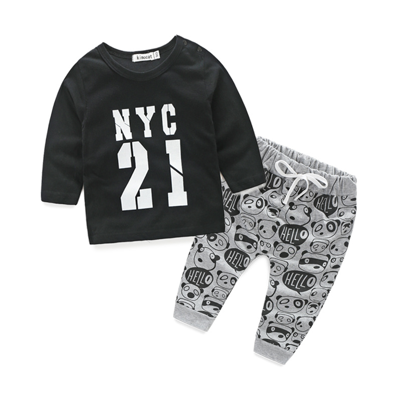 New 2016 autumn baby boy clothing set cotton long sleeve t-shirt+pants fashion baby boy clothes infant 2pcs suit  2016 autumn baby boy set cotton long sleeve print t shirt pants fashion baby boy clothes infant 3pcs suit hat lt01