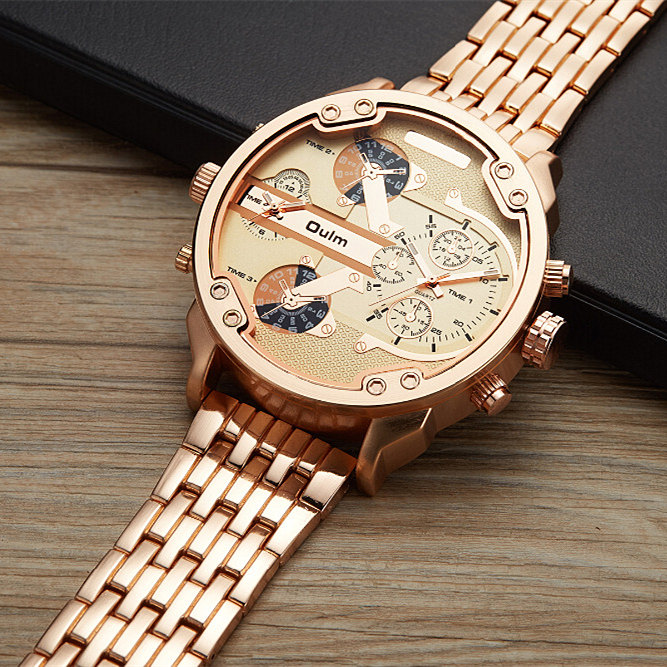 Men's Watch Stainless Steel OULM Brand Luxury Big Dial Watch White Case Quartz Relojes Sports Fashion Male Military Wristwatch