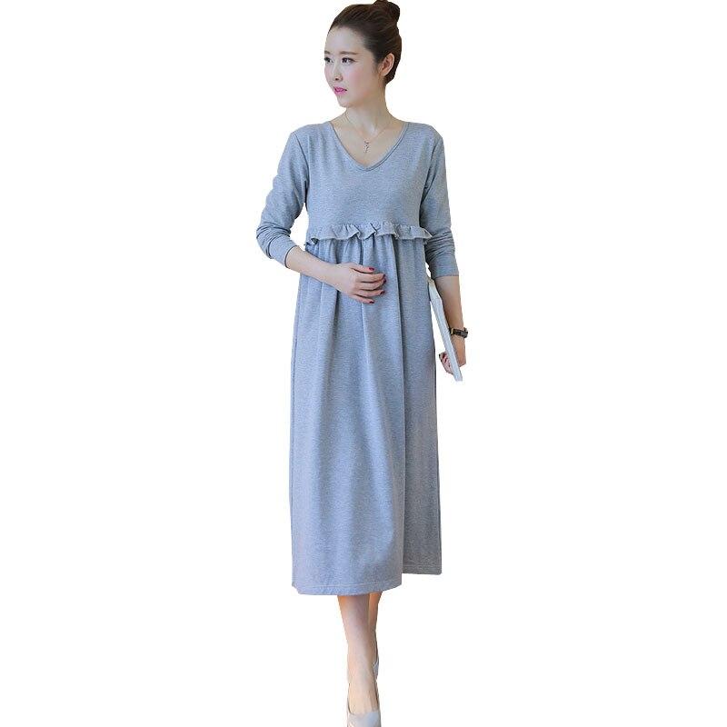 Nursing Maternity Dress For Feeding Autumn Long Sleeve Dresses Pregnant Women Clothes -9045