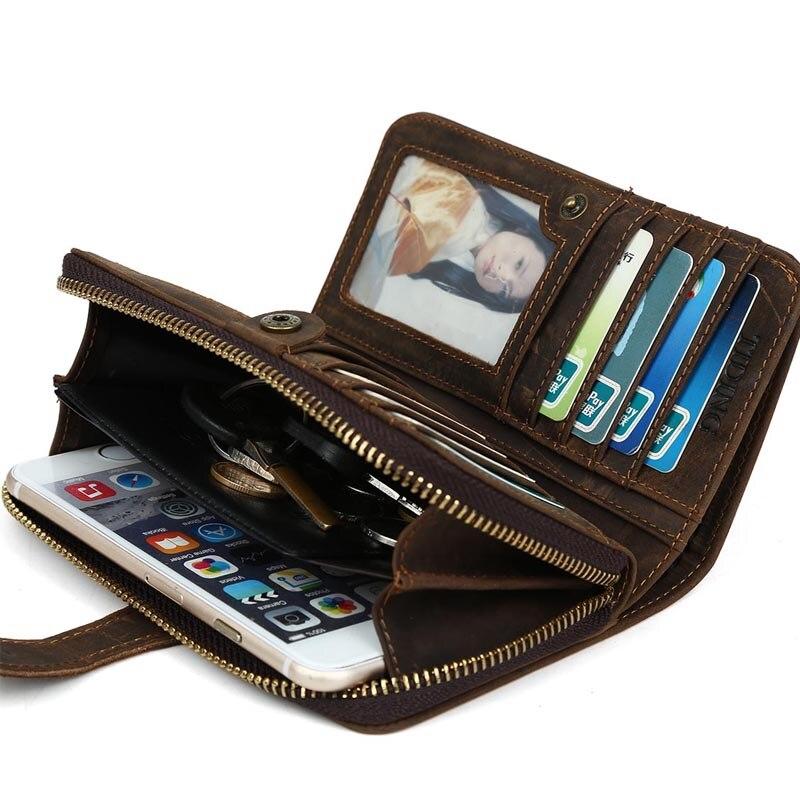 TIDING Livraison gratuite hommes de mode portefeuille titulaire de la carte de crédit de peau de vache cru sac à main en cuir 4027