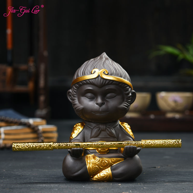 JIA-GUI LUO Purple Clay Monkey King Tea pet Monkey Tea Play Jewelry Kung Fu Tea Decorati ...