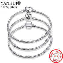 YANHUI New Fine 16-20cm Solid 925 Silver Snake Chain Bracelet Fit Original Charm Bracelet Bangle for Women DIY Jewelry Making(China)