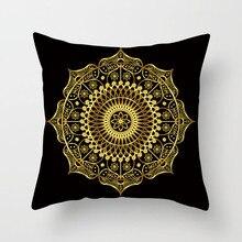 Fuwatacch Home Decor Pillow Case Gold Geometric Mandala Print Pillows Cover Living Room Accessories Cushion