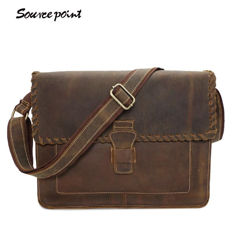 SOURCE POINT Genuine Leather Bag Men Messenger Bag Casual Shoulder Crossbody Bags Handbags iPad Holder Men Leather Bag YD-02080# сумка для ноутбука wy a023 point breaker messenger bag синяя