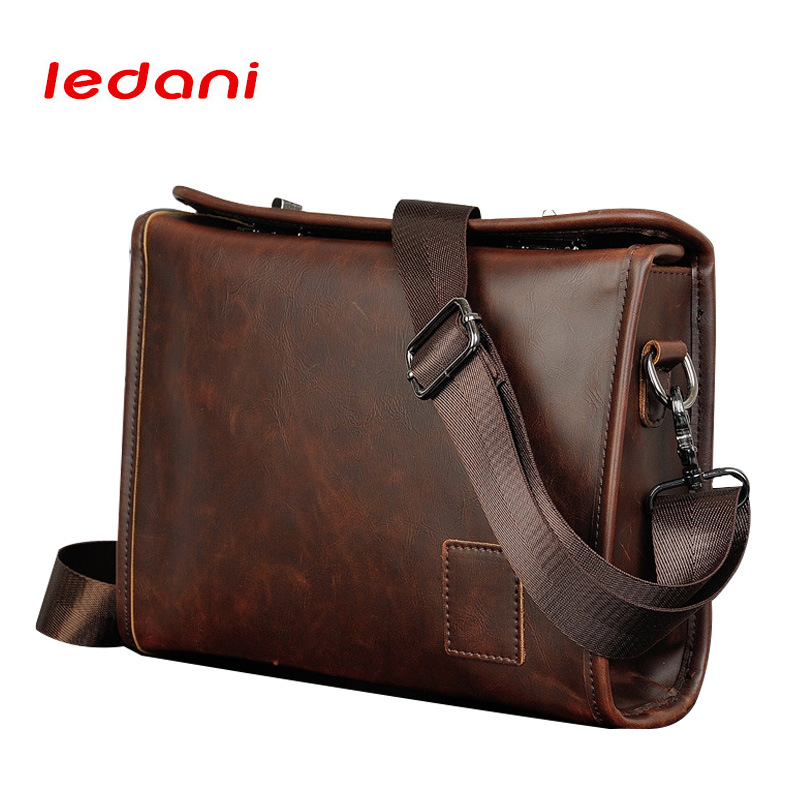 LEDANI Fashion Vintage Men Shoulder Bags PU Leather Casual Messenger Bag Male Business Men's Travel Handbags Crossbody Boy male casual messenger bag men shoulder bag man satchels handbags pu leather sling bag designer men crossbody travel bags li 1948