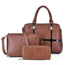 купить Female Mother Bag 3 Piece Set 2019 Luxury Handbags Women Bags fashion Shoulder Bag Purses and Handbags Oil Leather Bag Crossbody по цене 3126.3 рублей