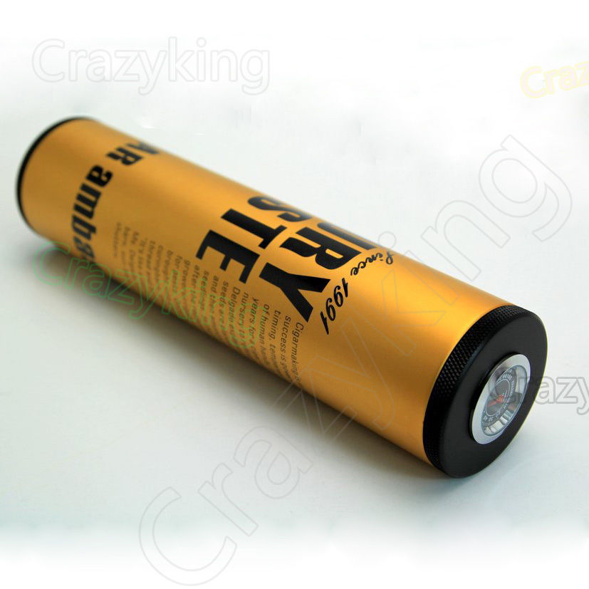 Lubinski Golden Metal Travel Cigar Tube Humidor W// Humidifier Humidomete