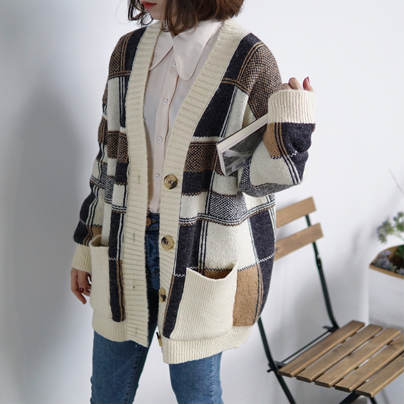 Free Shipping 2018 Spring New Check Knit Long Thick Cardigan Sweater  Multicolor Slim Fashion Women Sweater-in Cardigans from Women s Clothing on  ... fc5dc94b3