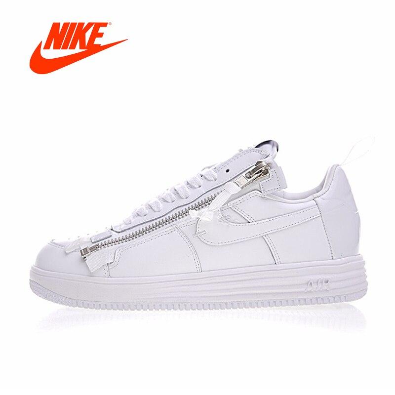 Original Nouvelle Arrivée Authentique Nike Lunar Force 1 x ACRONYME Hommes de Planche À Roulettes Chaussures Sport Sneakers Bonne Qualité AJ6247-100