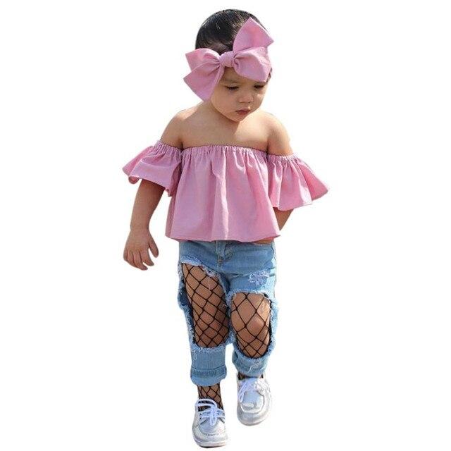 31a43a18f96eb7 New Summer 3pcs girls sets Kids Toddler Baby Girl Off Shoulder T-shirt Tops  Jeans Pants Clothes Outfits Set vetement enfant