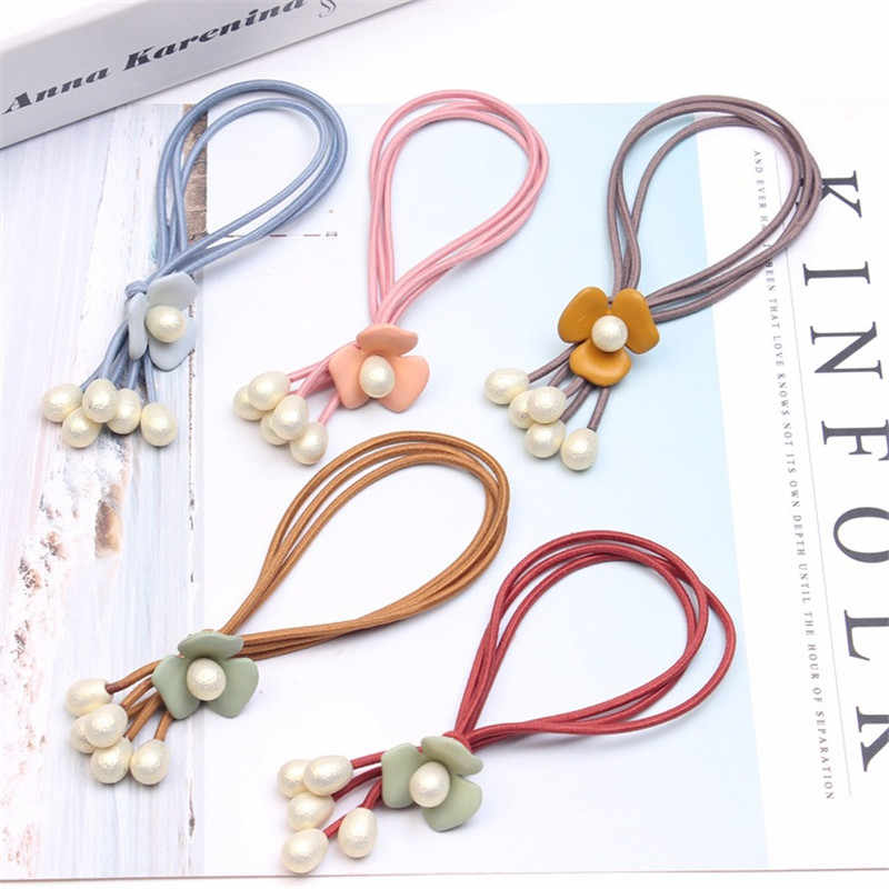 OPPOHERE Korean style three ring Headwear Lady's with beautiful Scrub pearl hair rope drop flower hair accessories